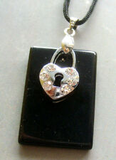 Black Agate Gem Acrylic Diamond Alloy Metal Lock Pendant--30mm*20mm
