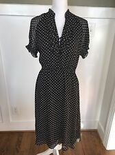 NWT J.CREW $178 SILK RUFFLED CLIP- DOT DRESS 12 BLACK WORK OFFICE PARTY F8770