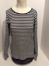 H&M LOGG Navy White Striped Long Sleeve size Large Organic Cotton