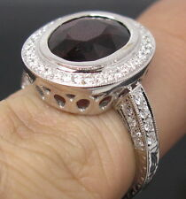 Gorgeous Solid 18K White Gold Natural Pink Tourmaline Engagement Diamond Ring