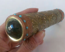 Collectibles Old Decorated Handwork Copper Inlay Turquoise Beads Kaleidoscope []