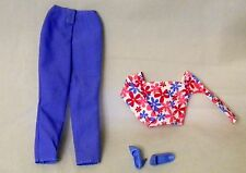 BARBIE DOLL BLUE PANTS PINK & BLUE TOP + SHOES PINK TAG