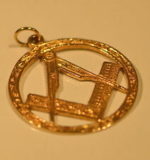 1974 Solid Gold Masonic Square & Compass Charm, Pendant, Fob, FREEPOST #1