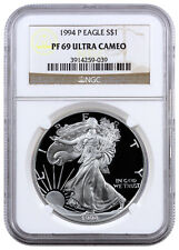 1994-P 1 Oz Proof American Silver Eagle $1 NGC PF69 UC SKU16714