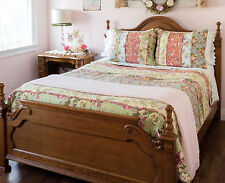 EMILY'S GARDEN Full / QUEEN  QUILT SET : COTTAGE RUFFLED RAG FLORAL COMFORTER