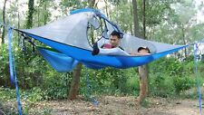 Hanging Tensile tree tent 4-Season Double Hammock with Removable rainfly(Blue)
