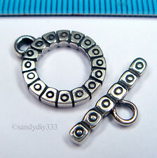 1x STERLING SILVER BALI FLOWER TOGGLE CLASP 14mm BEAD #1337