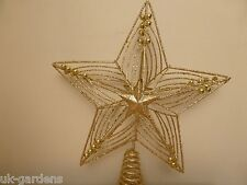 30cm Large Gold Star Christmas Tree Topper Ornament Xmas Decoration Metal