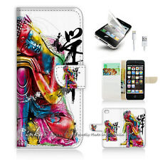 iPhone 5 5S Print Flip Wallet Case Cover! Abstract Buddha Art P0122