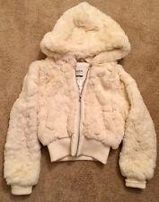 BEBE White Faux Fur Hoodie Size Medium. Very Cute!