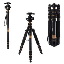Q666C Portable Carbon Fiber Tripod Monopod + Ball Head for DSLR Camera LF37