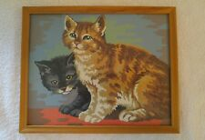 Vintage 1960s Oil Paint By Number Kittens w/ Glass Framed Cats