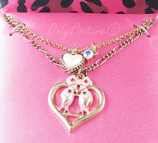 BETSEY JOHNSON Pink Love Birds Pendant Faux Pearl Heart Two-Tier Necklace In Box