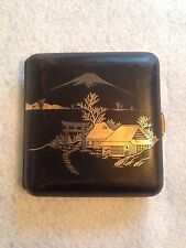 Antique Japanese Fine Steel Engraved With Gold Cigarette Case