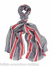 AQUASCUTUM Cotton & Linen Nautical Stripe Scarf Brand New In Packaging