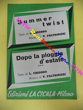 RARO SPARTITO SINGOLO Summer twist Dopo la pioggia d'estate 1963 CICALA no cd lp