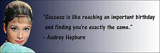 "Audrey Hepburn ""Success Is Like "" Quote Poster Print 7""x21"" On Matte Canvas"