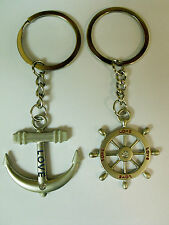Perfect Choice Love Couple Crystal Anchor Rudder Alloy Key Chain Ring Keychain E
