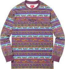 Supreme SS16 Paisley Stripe L/S Top Tee Shirt Purple Classic Logo XL Pink Berry