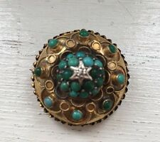 Big  Victorian Hallmarked 15ct Gold, Turquoise, Diamond Pin/Brooch-6.9g