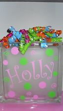 "6"" Name & Dots swirls Decal Sticker for Your Glass Block Night light Kids Room"