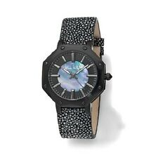 """NICOLE MILLER """"DAYNA"""" STAINLESS STEEL STINGRAY BLACK LEATHER STRAP 9"""" WATCH HSN"""
