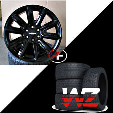 "22"" CV73 Style Wheels W Tires Satin Black Gloss Black Fits GMC Yukon Tahoe Rims"