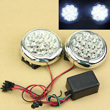 2x 12V 15 LED Round Daytime Running Driving Lights DRL Front Fog Tail Work Lamp