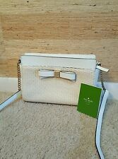 NWOT Kate Spade Montford Park Straw Angelica White Leather GHW Crossbody