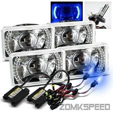 (2 Sets) 4x6 Crystal Semi-Seal Blue LED Projector Headlights/10000K H4-2 HID Kit