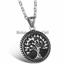 Retro Flower Edge Tree of Life Pendant Men Women Stainless Steel Necklace 22""