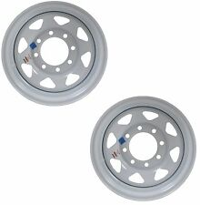 "Two Heavy Duty Equipment Trailer Rims Wheels 16"" 16X6 8H White Spoke Design"