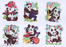 Chinese Paper Cuts - SINGLE PANDA Set (10 small colorful pieces) Chen