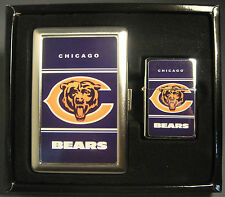 CHICAGO BEARS CLASSIC LOGO CIGARETTE CASE / WALLET AND LIGHTER GIFT SET