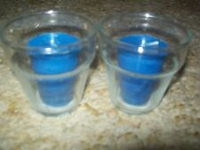 Pair of 3 in Glass Flower Pot Candle Holders w/ Blue Scented Votives; Gift Idea