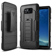 FOR SAMSUNG GALAXY S8 G950 FULL BLACK GT ARMOR CASE DUAL LAYER HOLSTER COVER