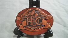 HARLEY OWNERS GROUP BROWN LEATHER BELT BUCKLE