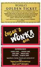 Personalised wafer paper Willy Wonka Chocolate Bar & Golden Ticket Cake Topper