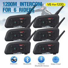 6pcs 1200M Motorcycle Wireless Bluetooth Interphone Helmet Headset V6 Intercoms