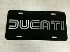 Ducati Car Tag Diamond Etched on Black Aluminum License Plate