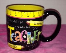 Burton + burton terrific teacher Coffee Mug Chalkboard Pencil Ruler Tea Cup Gift