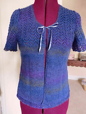 REALLY PRETTY Hand-Knitted Ladies' SHORT SLEEVE TOP / CARDIGAN - SIZE 8