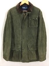 Polo Ralph Lauren Goat Suede Quilted Leather Bomber Jacket Sz M Italy EUC