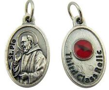 Silver Tone 1 Inch Patron Saint Padre Pio 3rd Class Relic Medal Charm Pendant