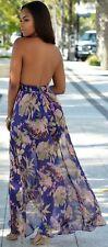 Backless V-Neck Multi-Color Floral Romper Maxi Dress Skirt Overlay Jumpsuit Sz S