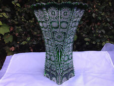 "VINTAGE BOHEMIA EMERALD GREEN QUEEN LACE HAND CUT SIX SIDED CRYSTAL VASE 11"" NIB"