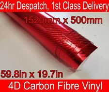 4D Carbon Fibre Vinyl Wrap Film CHROME RED 500mm(19.7in) x 1520mm(59.8in)