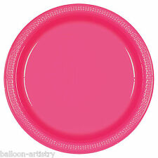 "20 MAGENTA PINK 9"" Large Round PLASTIC Party Wedding Plates"