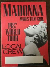 RARE Madonna Official Otto Backstage Pass Who's That Girl Tour 1987 Unused