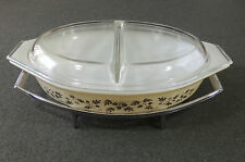 Pyrex Gold Acorn Leaf 1 1/2 Qt Divided Covered Casserole W/Divided Lid & Cradle